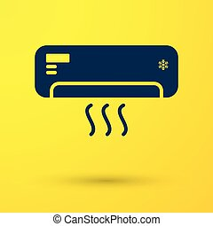Blue Air conditioner with fresh air icon isolated on yellow background. Split system air conditioning sign. Cool and cold climate control system. Vector Illustration