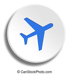 Blue aircraft in round white button with shadow