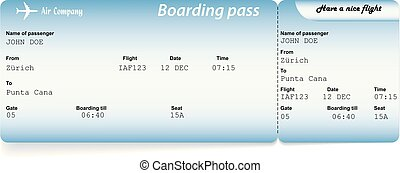 Blue airline boarding pass tickets