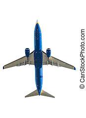 blue airplane below - blue passenger plane on white...