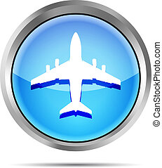 blue airplane icon on a white
