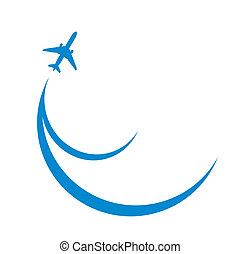 blue airplane silhouette