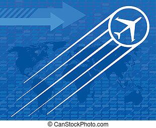 Blue Airplane Travel Background