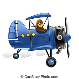blue airplane with pilot vector illustration isolated on...
