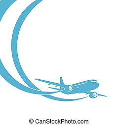 Blue airplane's silhouette on white background.