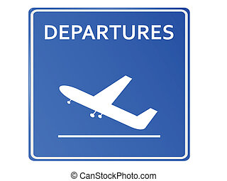 Blue Airport Icon, Departures..Vector illustration
