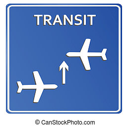 Blue Airport Icon, Transit..Vector illustration