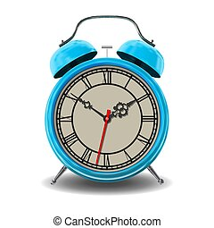 Blue alarm clock.