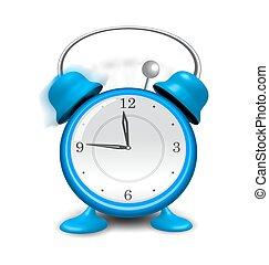 Blue alarm clock close up, isolated on white background
