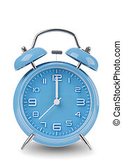 Blue alarm clock isolated on white - Blue alarm clock with ...
