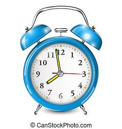 Blue Alarm Clock Isolated On White.