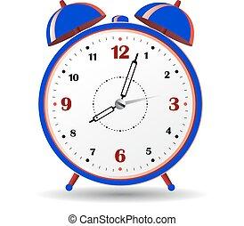 Blue alarm clock, on white background.