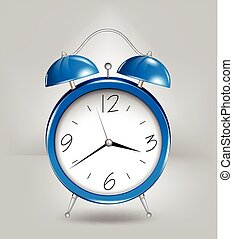 Blue alarm clock. Vector