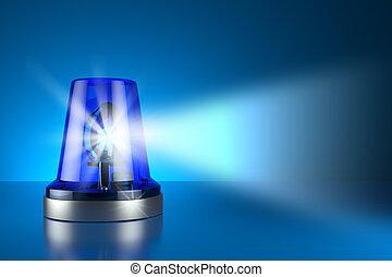 Blue alarm police light on toned background 3d