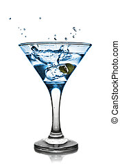 Blue alcohol cocktail with splash isolated on white