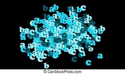 blue alphabet abc,cartoon letters paper card.