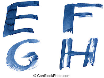 Blue alphabet - Grunge handwritten ink alphabet, isolated on...