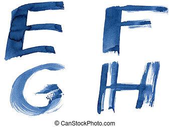 Grunge handwritten ink alphabet, isolated on white background. Letters EFGH