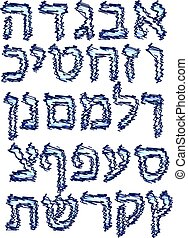Blue Alphabet Hebrew. Hatch felt-tip pen. Font. Vector...