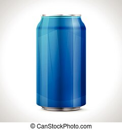 Blue aluminum can