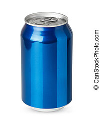 Blue aluminum can isolated on white background