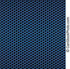 Blue aluminum Technology background with black hexagon perforate