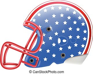 Blue American Football Helmet With Stars Side View. American Flag Isolated On A White Background. Vector Illustration.