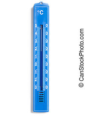 Blue analog plastic thermometer with European Celsius scale. Studio shot, isolated on white background.