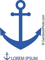 Blue anchor - Anchor as logo in blue colors. Sea theme