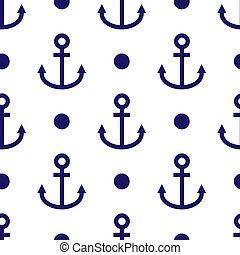 Blue Anchor icon isolated seamless pattern on white background. Vector