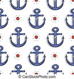 Blue Anchors Seamless Pattern