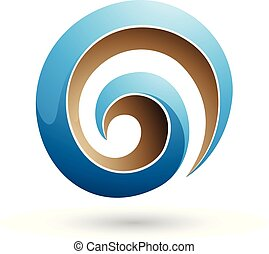 Blue and Beige 3d Glossy Swirl Shape Vector Illustration