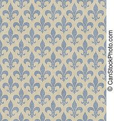 Blue and Beige Fleur De Lis Textured Fabric Background that...