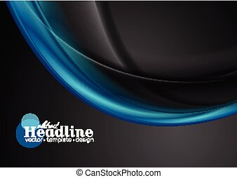 Blue and black abstract flowing dynamic waves background