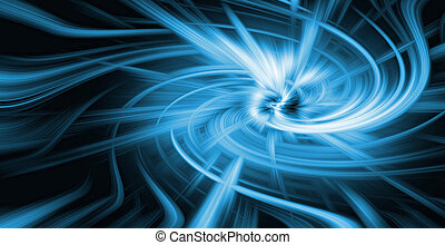Blue and black attractor - abstract background of the blue ...