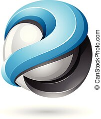 Blue and Black Bold Metallic Glossy 3d Sphere Vector Illustration