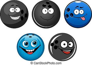 Blue and black bowling balls cartoon characters
