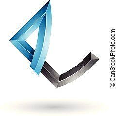 Blue and Black Embossed Letter E with Bended Joints Vector Illustration