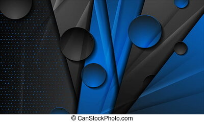 Blue and black geometric motion background with circles