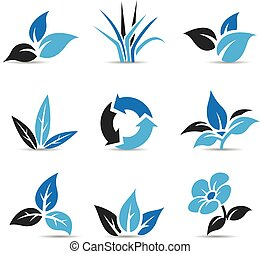 Blue and Black Leaves isolated on white