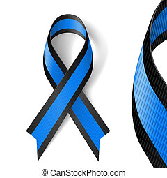 Blue and black ribbon - Blue and black awareness ribbon as...