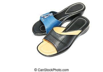 Blue and black shoes