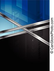Blue and black tech background with metal stripe