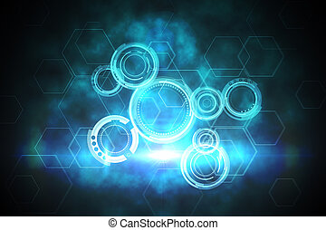 Blue and black technology dial design - Digitally generated...