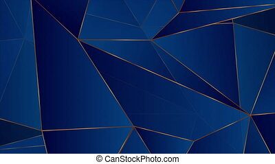 Blue and bronze geometric low poly abstract motion background. Seamless looping. Video animation Ultra HD 4K 3840x2160