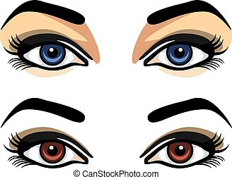 Blue and brown female eyes