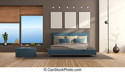 Blue and brown modern bedroom with double bed and large window - 3d rendering