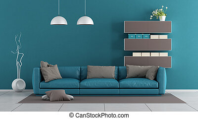 Blue and brown modern living room