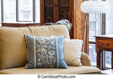Blue and cream pillows