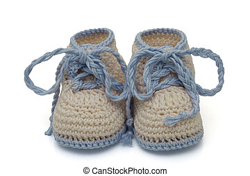 Blue and Ecru Hand-made baby booties